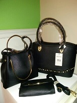 3 in 1 Black Handbag with wallet and tote, strap