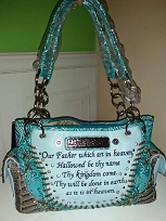 The Lords Prayer Handbag- Blue