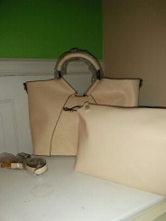 2 in 1 Soft Peach handbag and pouch with strap