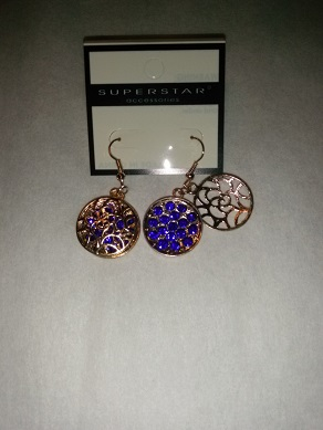 Gold/blue sparkle earrings