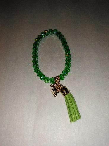 Tassel/elephant bracelet-green