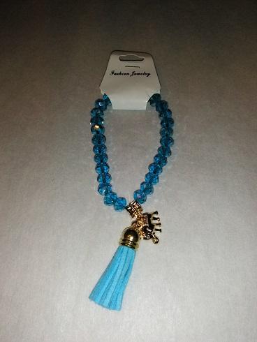 Tassel/elephant bracelet-blue