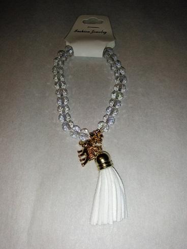 Tassel/elephant bracelet-white