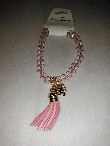 Tassel/elephant bracelet- Pink