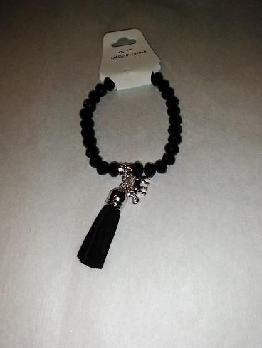 Tassel/elephant bracelet- black