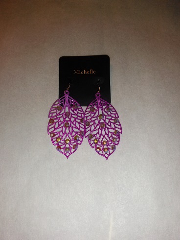 Purple leaf earrings