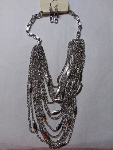 Draped silver chain set