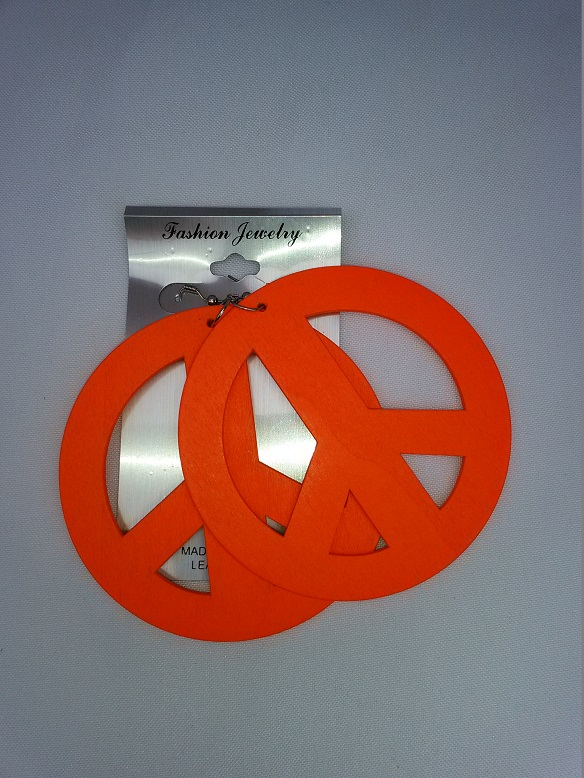 Large peace earrings orange