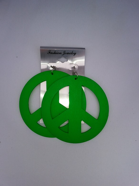 Large peace earrings green
