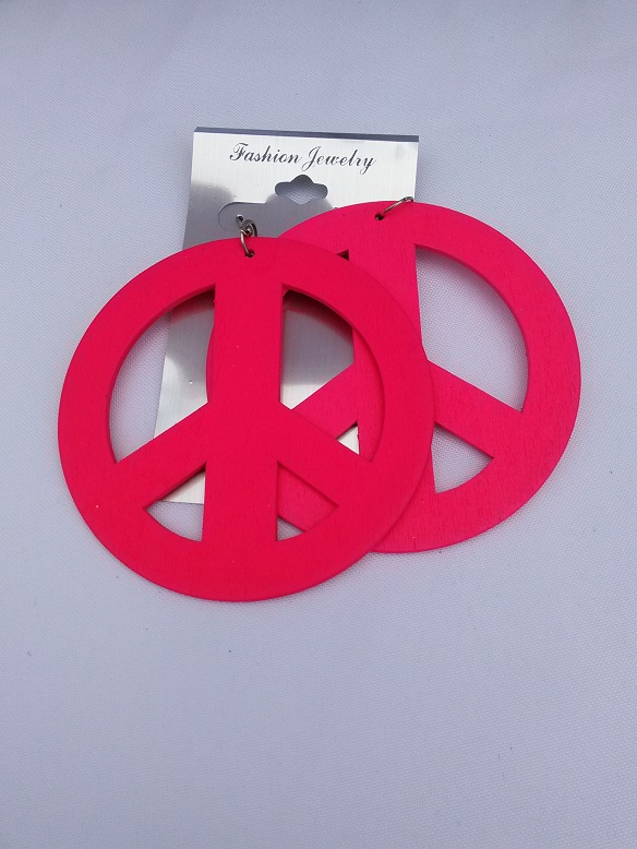 Large peace earrings pink