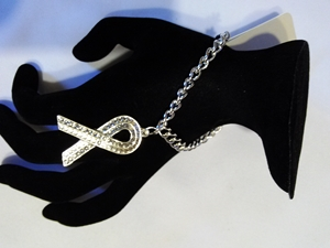 Cancer ribbon-silver