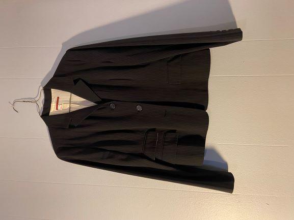 Dark Blue pin striped jacket w/ burgundy stripes