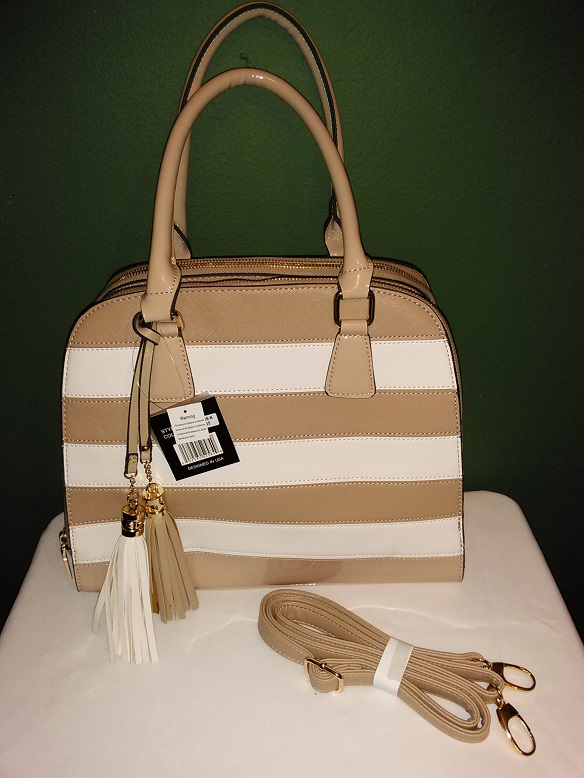Striped tassel tan/white