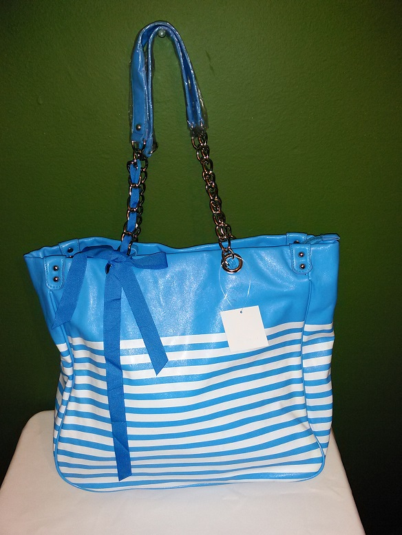 All occasion Faux leather tote- blue/white