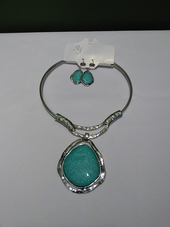 Silver choker set-turquoise