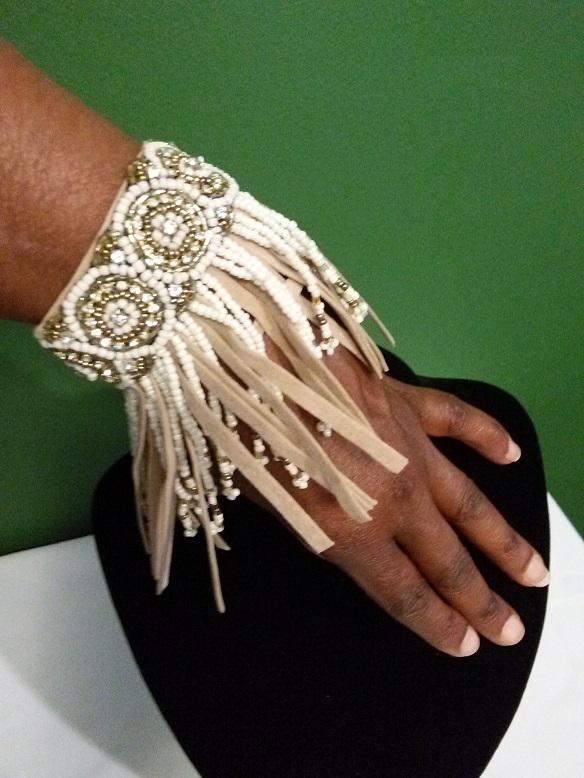 Indian inspired beaded bracelet-tan