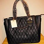 Vegan  Black Quilted Handbag