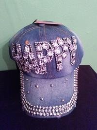 Denim Happy bling cap