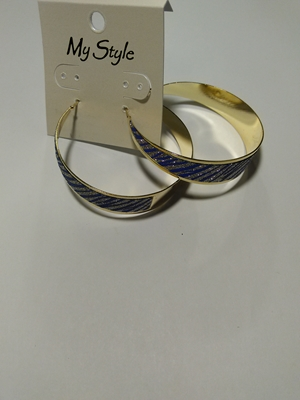 Glitter dark blue hoops